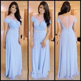 Light Blue Short Sleeve Chiffon Long Prom Dress With Sheer Neckline