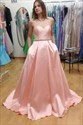 Peach Elegant Simple Strapless A-Line Floor-Length Evening Dress