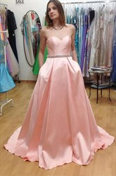 Peach Elegant Simple Strapless A-Line Floor-Length Evening Dress