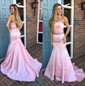 Trumpet/Mermaid Pink Strapless Beaded-Waist Floor-Length Formal Dress
