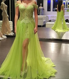 Off-The-Shoulder Lace Sheath Long Evening Dress With Tulle Overlay