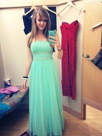 Lovely Mint Green Strapless Long Prom Dress With Beaded Empire Waist