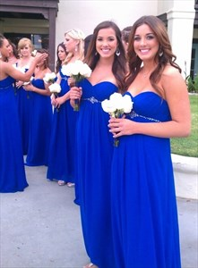 Royal Blue A-Line Strapless Empire Waist Chiffon Long Bridesmaid Dress