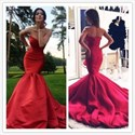 Show details for Simple Elegant Red Strapless Dropped Waist Satin Mermaid Prom Dress