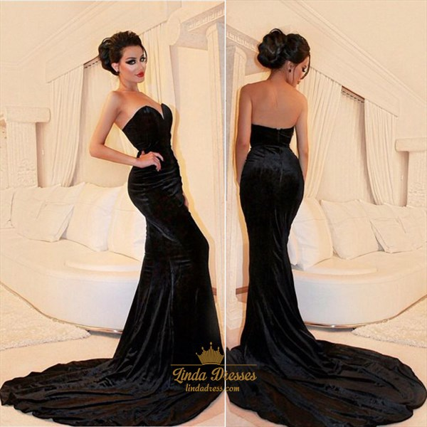 Black Strapless Sweetheart Mermaid Velvet Long Prom Dress With Train