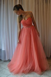 Simple Coral Strapless Sweetheart Tulle A-Line Floor-Length Prom Dress