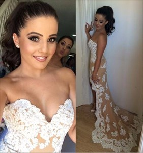 Strapless High-Low Lace Embellished Long Bridesmaid Dress With Train