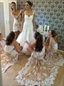 Show details for Strapless High-Low Lace Embellished Long Bridesmaid Dress With Train