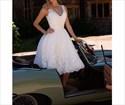 Lovely White Sleeveless V-Neck Short Lace Embellished Wedding Dress