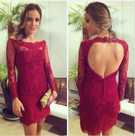 Burgundy Long Sleeve Lace Bodycon Cocktail Dress With Keyhole Back