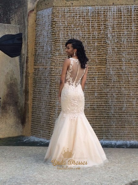 Illusion Floor-Length Sleeveless Lace Embellished Mermaid Wedding Gown
