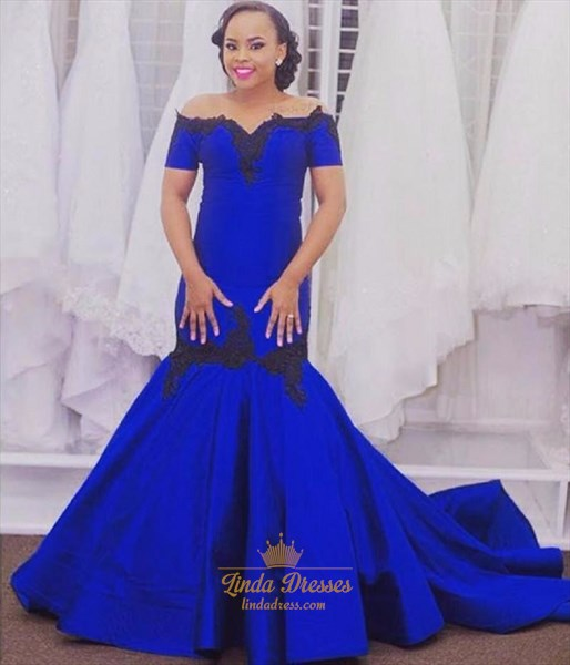 Royal Blue Off-The-Shoulder Mermaid Ball Gown Prom Dress With Train