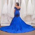 Show details for Royal Blue Off-The-Shoulder Mermaid Ball Gown Prom Dress With Train