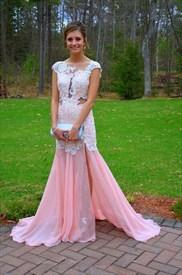 Illusion Cap Sleeve Drop Waist Lace Chiffon Prom Dress With Open Back