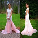 Show details for Illusion Cap Sleeve Drop Waist Lace Chiffon Prom Dress With Open Back