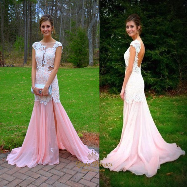Illusion Cap Sleeve Drop Waist Lace Chiffon Prom Dress With Open Back