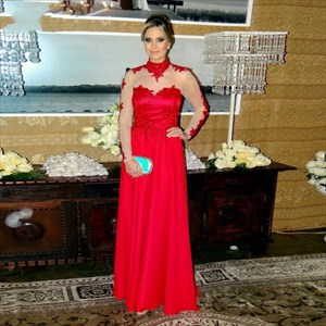 Illusion Red High-Neck Long Sleeve A-Line Lace Embellished Prom Dress
