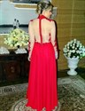 Show details for Illusion Red High-Neck Long Sleeve A-Line Lace Embellished Prom Dress