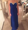 Royal Blue Strapless A-Line Chiffon Prom Dress With Beaded Neckline
