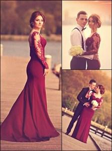 Burgundy Floor-Length Sweetheart Neckline Long Sleeve Evening Dress