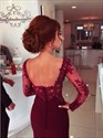 Show details for Burgundy Floor-Length Sweetheart Neckline Long Sleeve Evening Dress