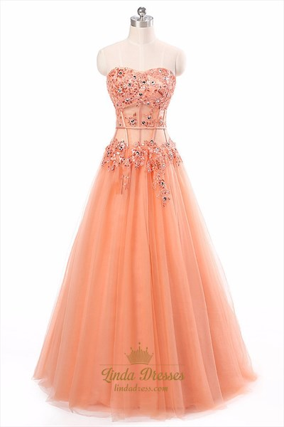 Strapless Sweetheart Corset Bodice Long Prom Dress With Tulle Skirt