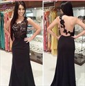 Show details for Black Sleeveless Floor-Length Lace Bodice Prom Gown With Illusion Back