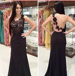 Black Sleeveless Floor-Length Lace Bodice Prom Gown With Illusion Back