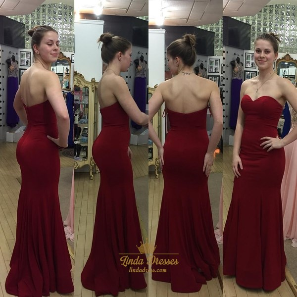 Simple Burgundy Strapless Sweetheart Neckline Floor-Length Prom Dress