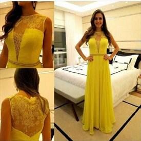 Illusion Yellow Sleeveless Lace Bodice Chiffon A-Line Long Prom Dress