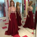 Burgundy Sleeveless V-Neck Applique Beaded Chiffon A-Line Prom Dress