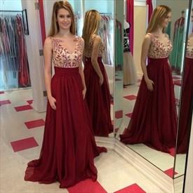 Burgundy Sleeveless V-Neck Applique Beaded Chiffon A-Line Prom Dress