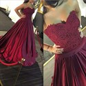 Burgundy Strapless A-Line Ruched Ball Gown Prom Dress With Lace Bodice