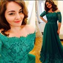 Emerald Green Off-The-Shoulder Half-Sleeve Lace Bodice Long Prom Dress