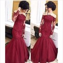Show details for Illusion Long Sleeve Off Shoulder Lace Embellished Mermaid Prom Dress