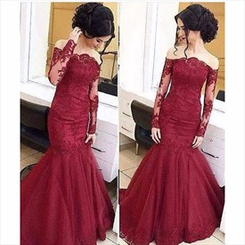 Illusion Long Sleeve Off Shoulder Lace Embellished Mermaid Prom Dress