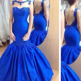 Royal Blue Sleeveless Backless Mermaid Prom Dress With Sheer Neckline