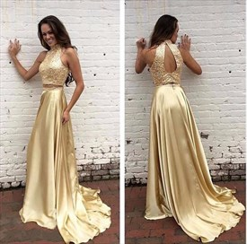 Elegant A-Line Two Piece Beaded Top Sleeveless Prom Dress With Keyhole