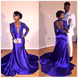 Deep V-Neck Long Sleeve Applique Mermaid Evening Gown With Open Back