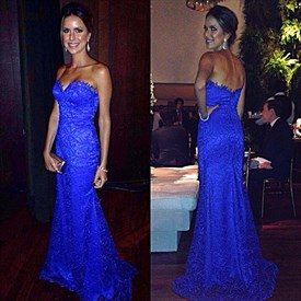 Elegant Royal Blue Strapless Sweetheart Lace Mermaid Long Evening Gown