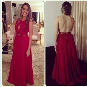 Red Sleeveless A-Line Sheer-Back Long Prom Dress With Front Keyhole