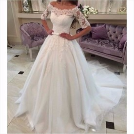 Elegant Half-Sleeve Off Shoulder Lace Bodice Ball Gown Wedding Dress