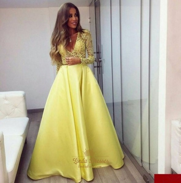 Yellow Long Sleeve Deep V-Neck Lace Bodice A-Line Ball Gown Prom Dress