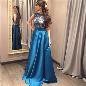 Elegant Cap Sleeve Floor Length A-Line Satin Prom Dress With Lace Top