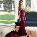 Elegant Strapless Beaded Sweetheart Mermaid Evening Dress With Train