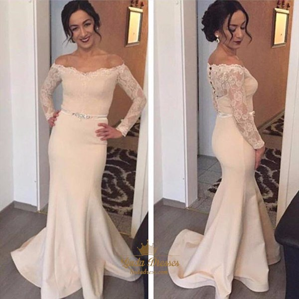 Off Shoulder Long Sleeve Mermaid Floor-Length Evening Dress With Lace