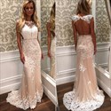Show details for Illusion Cap Sleeve Lace Embellished Mermaid Prom Dress With Open Back