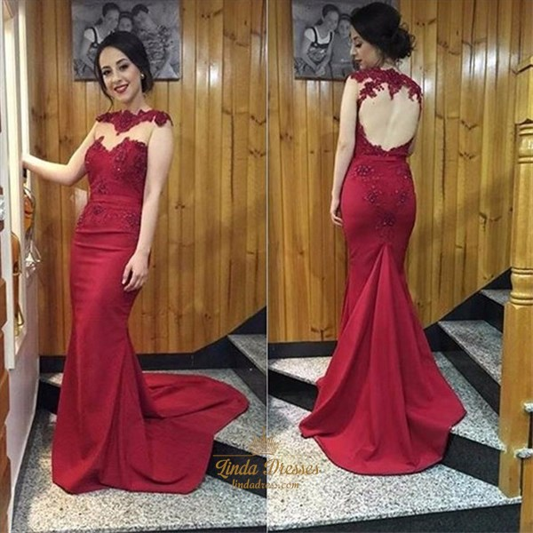 Burgundy Illusion Neckline Floor-Length Evening Gown With Keyhole Back