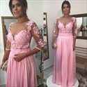 Pink A-Line V-Neck Lace Bodice Chiffon Prom Dress With Sheer Sleeves