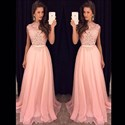 Show details for Pink Cap Sleeve A-Line Lace Bodice Chiffon Floor-Length Evening Dress